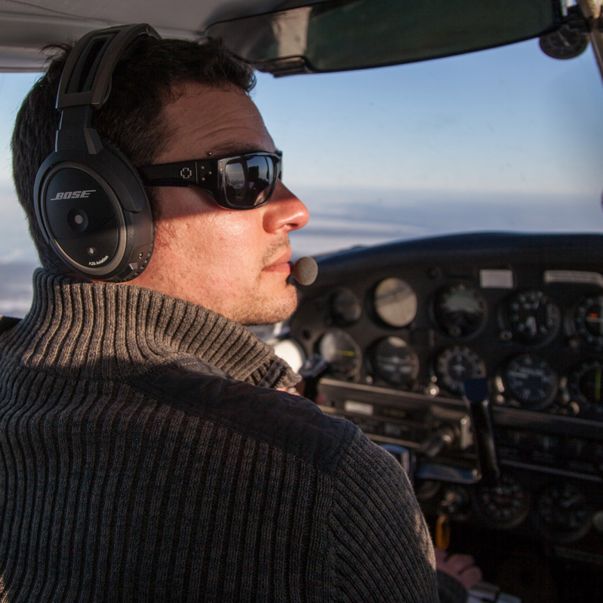 Scott Wilson piloting aircraft for aerial photography